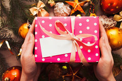 Hands put gift under Christmas tree, blank card Royalty Free Stock Images