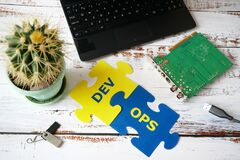 Free Hands Put On Board Words Dev And Ops. DevOps Concept For Software Engineering Culture And Practice Of Software Development And Stock Photography - 215352852