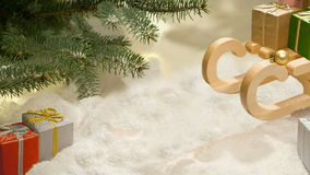Hands put presents under the Christmas tree New Year Stock Images