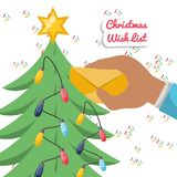 Christmas wish list design. Hands putting a christmas wish list  on the christmas tree colorful design vector illustration Stock Images