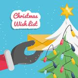 Christmas wish list design. Hands putting a christmas wish list  on the christmas tree colorful design vector illustration Royalty Free Stock Photography