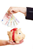 Hands putting Euro money in piggy stock photo