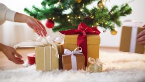 Hands putting gift boxes under christmas tree stock footage