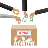 Hands putting gold coin and money in donation box. illustration in flat style, Royalty Free Stock Photos