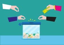 Hands putting money on a glass box or still bank container. Donation or bank savings concept. Editable Clip Art. Stock Images