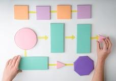 Hands putting paper blocks