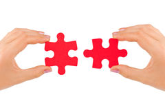 Hands and puzzle royalty free stock photos