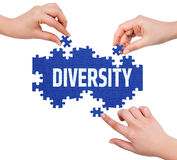 Hands with puzzle making DIVERSITY word royalty free stock photography