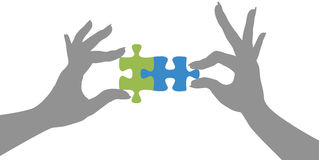 Hands puzzle pieces together solution stock illustration