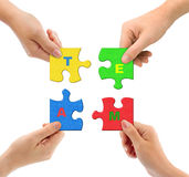 Hands and puzzle Team. Isolated on white background royalty free stock photos