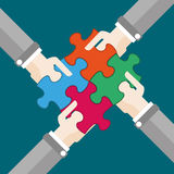 4 Hands 4 Puzzles Flat Design Royalty Free Stock Photography