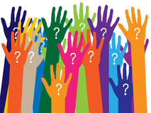 Hands with question signs Royalty Free Stock Image