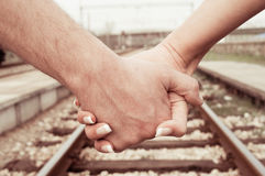 Hands and railroad Royalty Free Stock Photos