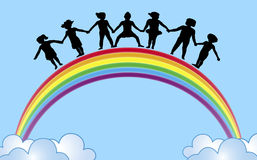 Hands On Rainbow 1. Illustration of children holding hands on top of rainbow
