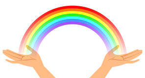 Hands with rainbow Stock Image
