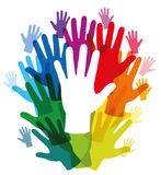 Hands Rainbow Colored Frame Stock Photography