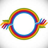Hands and rainbow design element. Hands and rainbow design element with copy space in the center, vector illustration Stock Photography