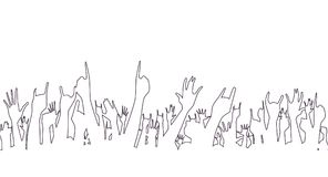 Hands pointing into the air. Hands raised in the air at a concert Royalty Free Stock Images