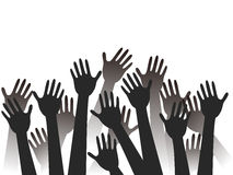 Hands raised background vector illustration