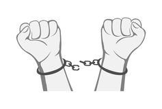 Hands. The raised fist with handcuffs  on white background, illustration Royalty Free Stock Photos