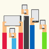 Hands raised holding smartphone and tablet flat design Royalty Free Stock Photos