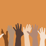 Hands Raised. Illustration of hands raised up, to express volunteerism, multiethnicity, equality, racial and social issues Royalty Free Stock Images