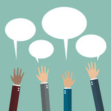 Hands raised with speech bubble. Flat style design Stock Photo