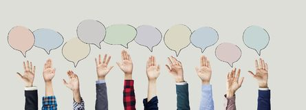 Hands raised with speech bubble. Hands raised with  speech bubble Royalty Free Stock Image