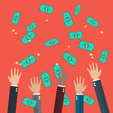 Hands raised throwing and catching money in the air. Flat style design Stock Photography