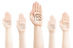 Hands raised to the sky and saying Yes. Royalty Free Stock Photography