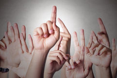 Hands raised together Royalty Free Stock Photo