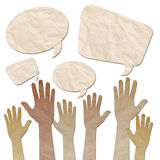 Hands raised up with Speech Bubbles Stock Photography