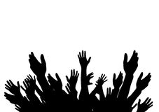 Hands Raised Up -  Symbol of Freedom the Choice, Fun. Vector Ill Royalty Free Stock Images