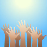 Hands raised up to the light. Faith and hope concept. Royalty Free Stock Photos