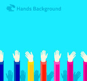 Hands raised up for voting or polling. Brochure, leaflet design. Hands raised up for voting or polling. Brochure, leaflet  modern flat design Stock Image