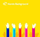 Hands raised up for voting or polling. Brochure, leaflet design. Of stylish bright colors Stock Image
