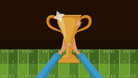 American football trophy HD animation. Hands raising football trophy cup on field camp High definition colorful animation scenes stock footage