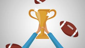 American football trophy HD animation. Hands raising football trophy cup High definition colorful animation scenes stock video