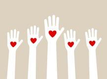 Hands raising love Stock Images