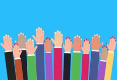 Hands raising up, raised colorful arms, volunteering vector. Concept, education and business Stock Photo