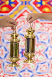 Hands with Ramadan Lantern Royalty Free Stock Images