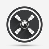 Hands reach for earth sign icon. Save planet. Stock Photography