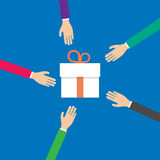 Hands reach for a gift box, vector Stock Photography