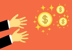 Hands reach for money. The concept of greed, all for money. The pursuit of wealth. Vector illustration. vector illustration