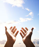 Hands reach for sky Royalty Free Stock Images