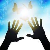 Hands reach to the sun, releasing butterflies Stock Photos