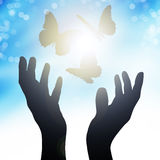 Hands reach to the sun, releasing butterflies. Solar flare Royalty Free Stock Images