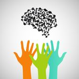 Hands reaching for the brain. Vector design Royalty Free Stock Photos