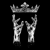 hands reaching for crown Stock Photography