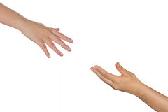 Hands reaching each other. Stock Photos